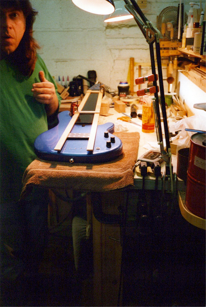 Carl working on a 34 scale single pickup 5 string for Pino Palladino