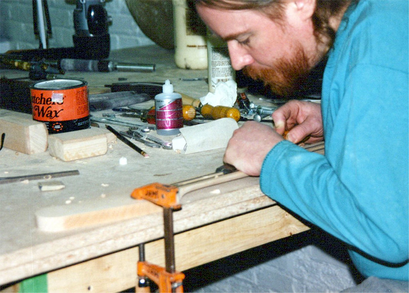 Early pre 1996 preparing a neck for the fingerboard installation